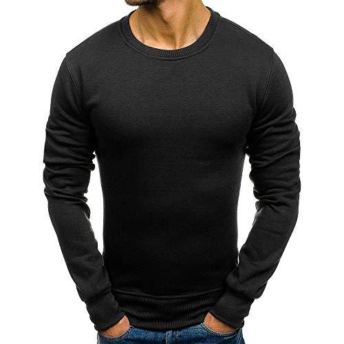 JiaMeng Suéter de Hombre Invierno Manga Larga Suéter Casual Jersey de Punto Caliente Camiseta Blusa básica de Manga Larga con Cuello Redondo (Negro, M)