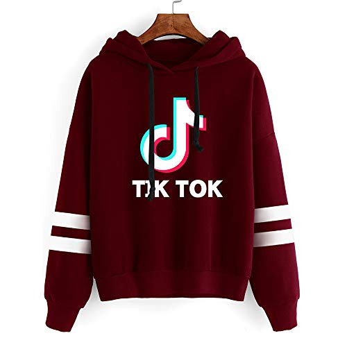 Fashion New Currents TIK TOK Striped Long Sleeve Hoodie Pullover Sweatshirt Color WHD08458 Size L