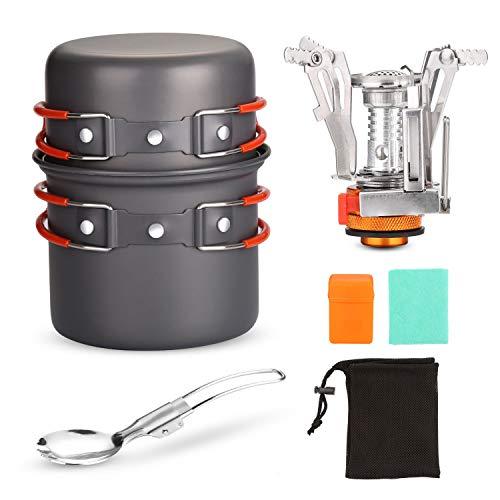 Odoland Camping Cookware Kit con Pentola e Padella da Campeggio in Alluminio Anodizzato Atossico, Fornellino Trekking e Cucchiaio Pieghevoli - Gavetta da Picnic