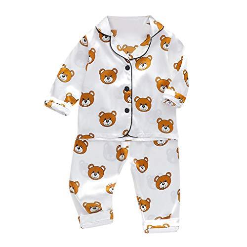 Peuter Jongens Meisjes Pyjama Slaapmode Outfits Baby Lange Mouw Cartoon Beer Sweatshirt Tops Shirt +Broek 2 Stks Kleding Sets Zijde Satijn Nachtkleding Kleding voor 1-5 Jaar Oude Kinderen