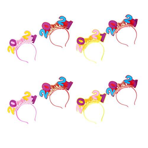 KALLORY 8Pcs 2021 Año Nuevo Diadema Antideslizante Número Luminoso Bowknot Banda para El Cabello Tiara Fotomatón Vacaciones Juguete Brillante Relleno de Bolsas