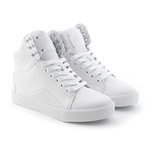 Pastry Pop Tart Grid Adult Dance Sneakers, White, Size 5