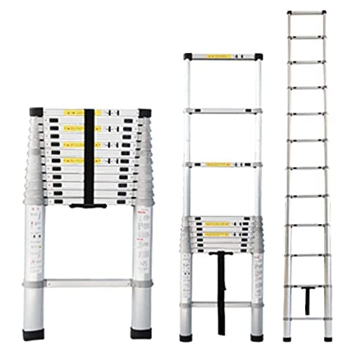 ZHPBHD Escalera alta extensible telescópica, escaleras de loft plegables telescópicas de aluminio completo con mecanismo de bloqueo cargado por resorte, carga 150kg 330lbs, escalera de herramientas mu