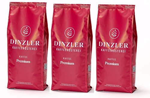 Dinzler Kaffeerösterei - Kaffee Premium - Kaffee | ganze Kaffeebohnen | kräftige Frühstückskaffee | wenig Säure | 3kg ganze Bohne SPARSET | Ideal geeignet für Vollautomaten | Hervorragendes Aroma