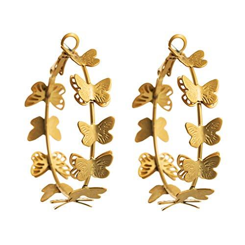 6Wcveuebuc Pendientes de aro de mariposa de hadas de oro grandes pendientes largos de aro de insectos joyería para mujeres de moda Jewerly