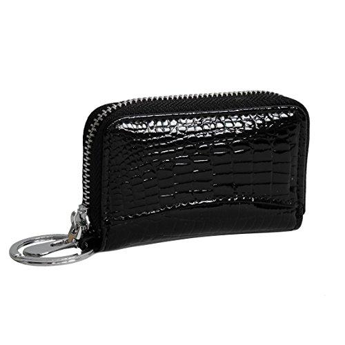 Harold's (Bag Street) Damen Leder Schlüsseltasche Schlüsseletui Schlüssel Etui aus Leder präsentiert von ZMOKA® in versch. Farben (Schwarz)
