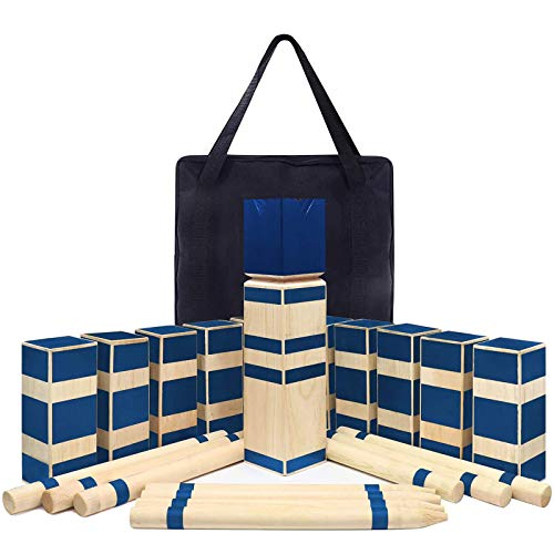 Kawuneeche Kubb Game Set Viking Chess with Tote Bag Outdoor Lawn Game Wooded Backyard Games Tossing Grass Game Beach Games Family Games (Blue)