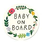 Baby on Board 「お花リース」 車用 カーステッカー (マグネット) / 赤ちゃんが乗ってます