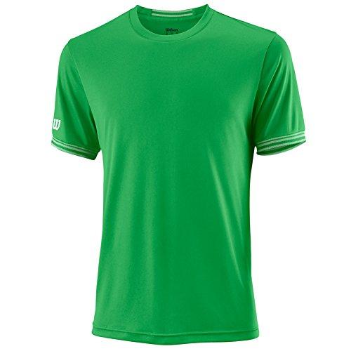 Wilson Homme T-Shirt de Tennis à Manches Courtes, M TEAM SOLID CREW, Polyester, Noir/Blanc, Taille M, WRA765302