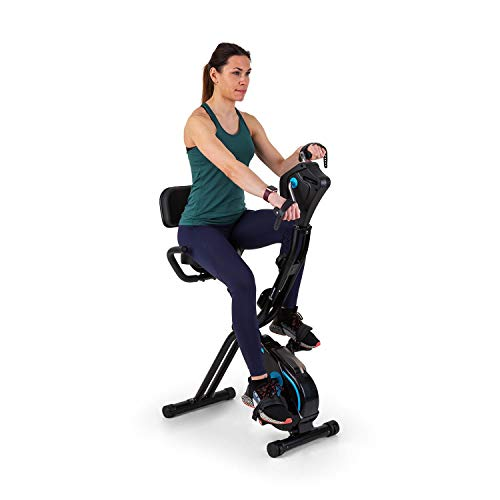 Capital Sports Azura Full Body Comfort bicicléta estática, bicicleta para cardio / manivela para manos, volante de inercia de 7,5 kg, MagResist: Resistencia magnética (8 niveles), negro