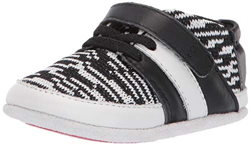 Robeez Boys' Low Top Sneaker-Mini Shoez Crib Shoe, Black/White, 9 Months-12 Months Toddler