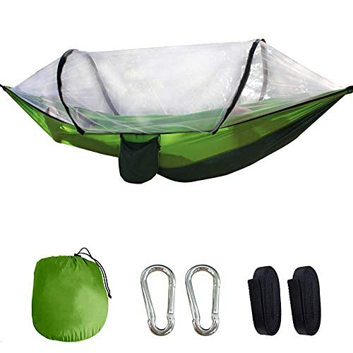 XHLLX Camping Hammock Automatic Quick-Opening Mosquito Net Hammock Breathable,Quick-drying Parachute Nylon Camping Hammock with Mosquito