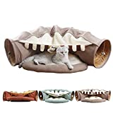 ABLAZEZAI Cat Collapsible Play Tunnel Tube Bed with Cushion,Scratching Toy for Cat,Puppy,Ferrets and Rabbit Removable House (Green, Matcha)