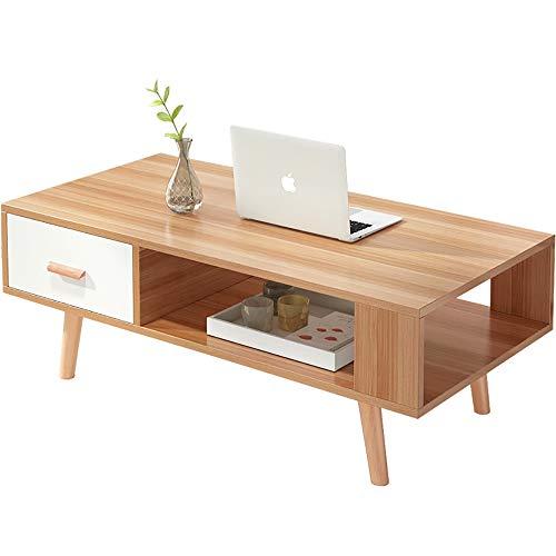 WENCY kleine, rechthoekige salontafel met twee etages en lade, geschikt voor de woonkamer