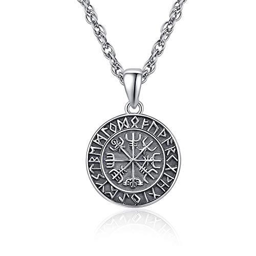 ViKing Halskette 925 Sterling Silber Vegvisir Anhänger Halskette Wikinger Amulett Schmuck für Herren Damen mit Edelstahl Kette 50cm