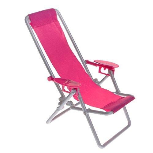 RONGW Silla de Comedor JKUNYU 1: 6 Miniatura casa de muñecas de plástico Beach Chair Sillón Juguetes Rosa roja - Muebles de Exterior Accesorios
