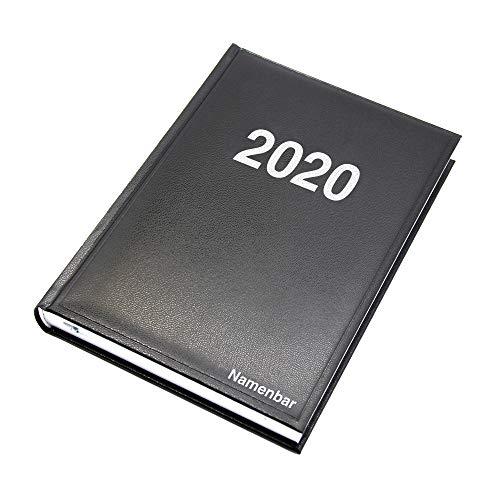Buchkalender 2020 mit Gravur, Chefkalender, Schwarz, DIN A5
