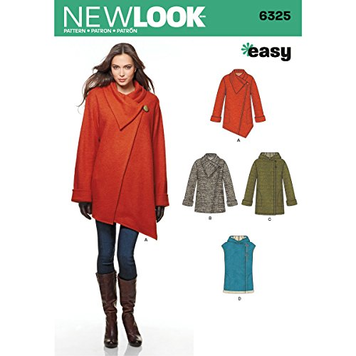 NEW LOOK 6325 Misses' Easy Coat with Length and Front Variations, and Vest, Size: A (XS-S-M-L-XL)