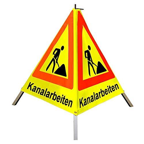 """Warnpyramide/Faltsignal Schaufelmann(VZ123)""""Kanalarbeiten"""" 90cm - gelb tagesleuchtend, leicht"""