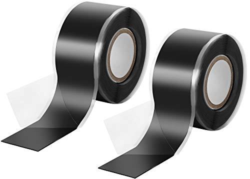 Poppstar 2x 3m selbstverschweißendes Silikonband, Silikon Tape Reparaturband, Isolierband und Dichtungsband (Wasser, Luft), 25mm breit, schwarz