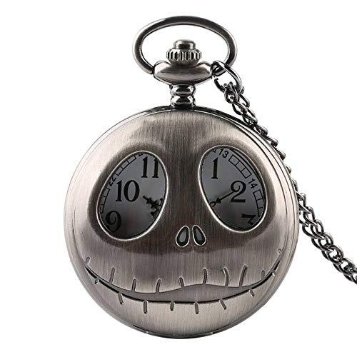 XVCHQIN Hombres Retro Gótico Pesadilla Antes de Navidad Reloj de Bolsillo de Cuarzo Collar Colgante Regalos para Hombres Niños, 12