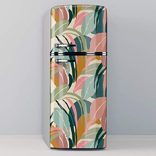 Vinilo Adhesivo Decorativo para Nevera, Especial Libre De Burbujas, Diseño De Plantas De Colores Pastel (70x185)