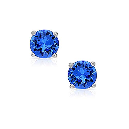 Blue Fire Swarovski Crystal Round Earrings Never Rust 925 Sterling Silver Natural and Hypoallergenic Studs For Women & Girls w/Free Breathtaking Gift Box for a Special Moment of Love By BLING BIJOUX