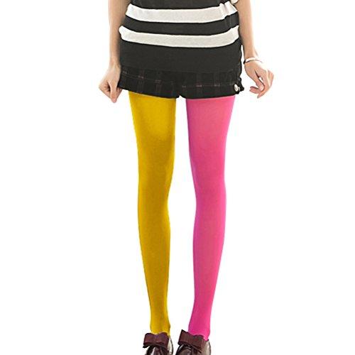 LUOEM Strumpfhosen mehrfarbig Damen Mode Splice Kniestrümpfe Party Kostüm Strümpfe (Rose Rot und Gelb)