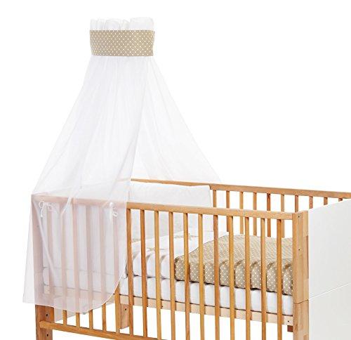 babybay Ciel de lit pour enfant piqué avec ruban pour application étoile Sable