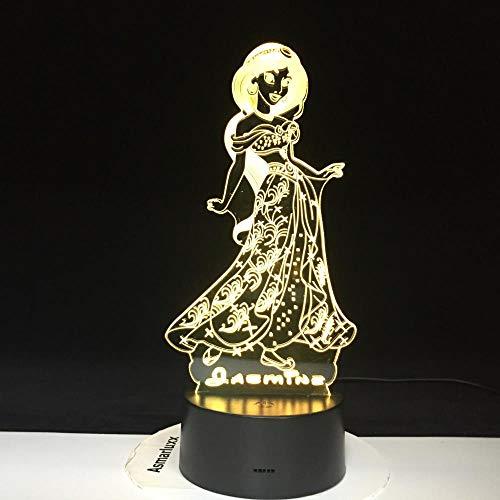 Luz nocturna de princesa, juguetes de iluminación, regalos, luz de ilusión 3D, lámpara de escritorio cambiante, 7 colores, decoración creativa, regalo para niños