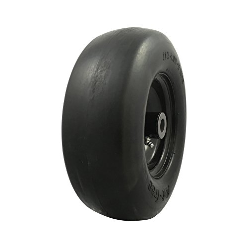 MARASTAR 00232 Universal Fit Flat Free 11 x4.00-5 Lawnmower Tire Assembly, 3.4' Centered Hub, 3/4' Bushing