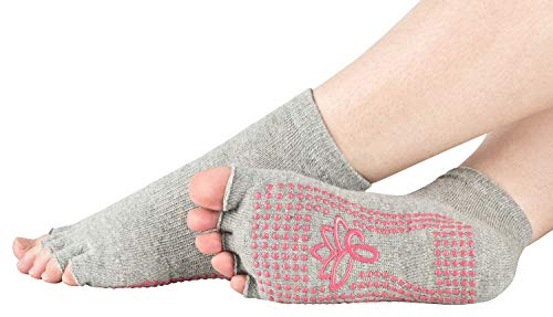 Piarini 1 Paar offene Zehensocken kurz - ABS Socken aus Baumwolle - Yoga-Socken mit offenen Zehen - Pilates-Socken Fitness
