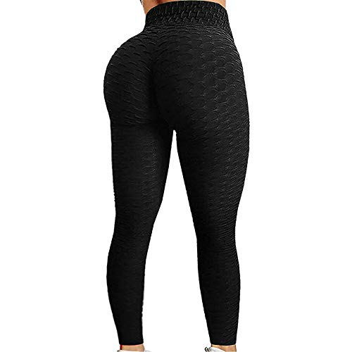 iddolaka High Waisted Yoga Pants for Women, Tummy Control Ruched Bubble Hip Butt Lifting Workout Tight Seamless Booty Leggings (A-Black, XX-Large)