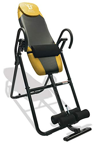 New Body Vision IT9825 Premium Inversion Table with Adjustable Head Pillow & Lumbar Support Pad, Yel...
