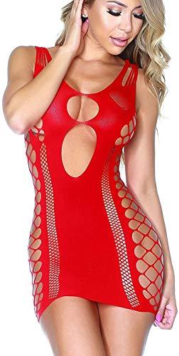 Hootiny Damen-Mini-Kleider, sexy, nahtlos mit Ausschnitten, Bodysuit, Nachtwäsche, Dessous für Sex,Rot