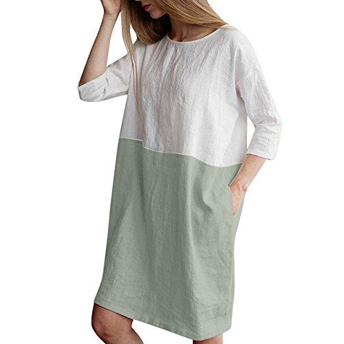 Tosonse Vestidos De Verano para Mujer Vestido De Túnica De Retazos De Talla Grande Vestidos De Camiseta con Bolsillo