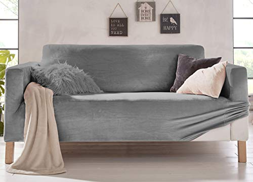 Biancheriaweb - Funda de sofá elástica, Efecto Terciopelo, Modelo Muy Suave, Color Gris, sillón Gris