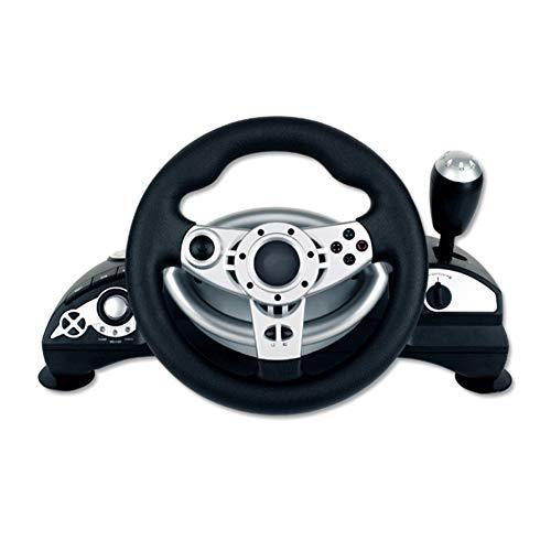 Volant, Volant de Jeu de Course, Compatible avec Le Volant de Console de Jeu à Vibrations Steam, PS3 / PS2 / PC D-Input/X-Input PC