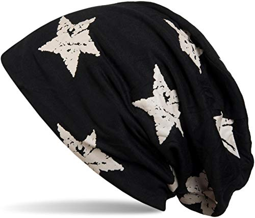 styleBREAKER Unisex Stoff Beanie Mütze mit Sterne Print im Destroyed Vintage Look, Longbeanie 04024041, Farbe:Schwarz