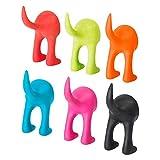 Ikea Bastis Wandhaken/Aufhänger, Form: Hundeschwanz, 12 cm, Rot / Grün / Blau / Pink / Orange / Schwarz, 6 Stück multi