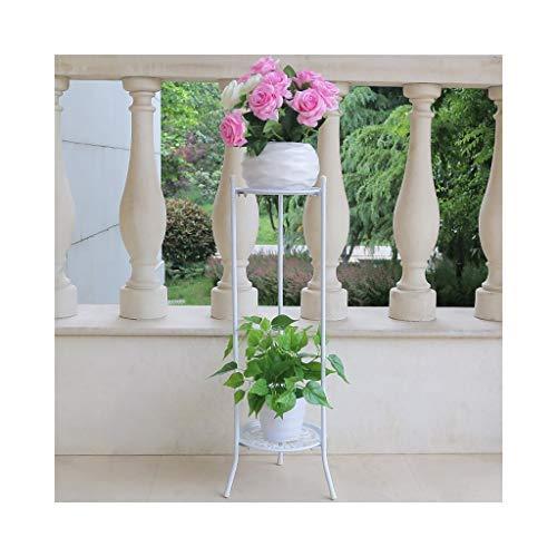 DE Blumenständer schmiedeeiserner Doppeldecker Innen- und Außenwohnzimmer Balkonbank Kleiner Topfständer Pflanzenständer (weiße Montage) (Size : 70cm)