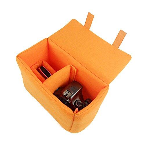 Yimidear Velvet antiurto imbottita pieghevole Partition Camera Inserisci Borsa di protezione per SONY Canon Nikon DSLR americano Or Flash Light (arancione)