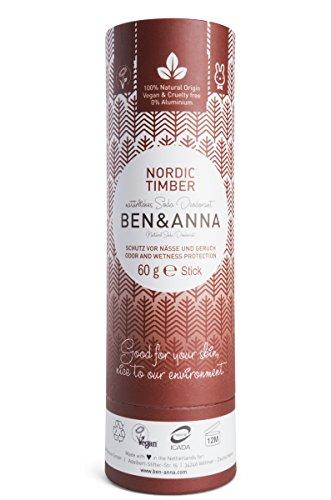 Ben&Anna BA22024 - Desodorante en Barra, Base de Soda y Karité, Protección Contra Malos Olores y Sudor, Madera Nórdica - 60g