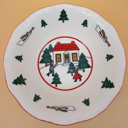 Cerámica Plato Vajillas British Christmas Christmas Rectangular Sandwich Dian Xin Sartén Juegos De VajillaCuenco En Forma De Flor, 5.5 Pulgadas
