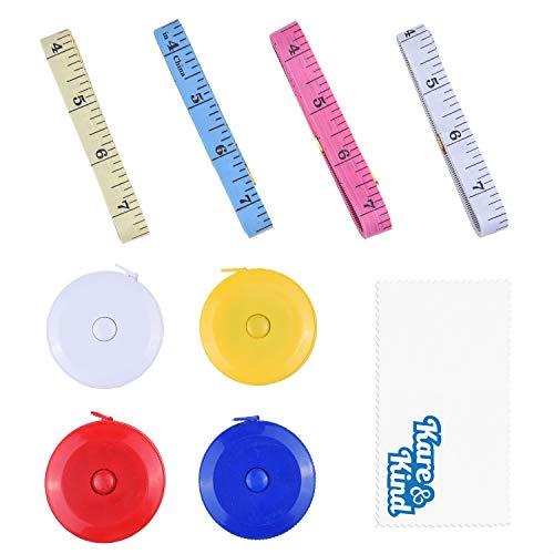 Kare & Kind Bandmaßset - 4x einziehbares (Druckknopf) Mini-Bandmaß (Blau/Rot/Gelb/Weiß) - 4x Körpermaßband aus weichem Vinyl (Zufallsfarben) - Nähen, Basteln, Stoff, Taille, Körpermaß