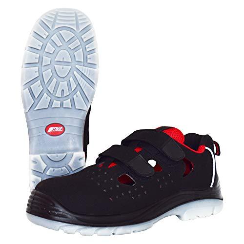 Sandalias de Seguridad Nitras 7422 Micro Step Summer - Zapatos de Trabajo S1P para Hombres y Mujeres - Gorra con Punta y Zapatillas Antideslizantes - Negro/Rojo, Tamaño 40