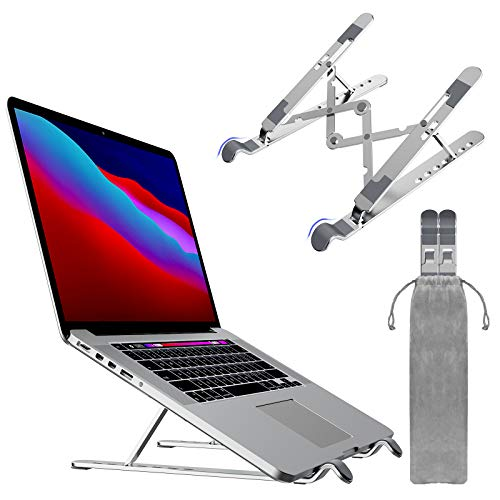 olyone Upgraded Laptop Stand, Adjustable Laptop Holder Riser Computer Stand Aluminum Ventilated Cooling Notebook Stand Compatible with MacBook Air Pro/Lenovo/Dell/iPad/HP More Laptops - Silver