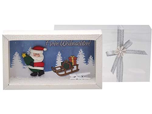 ZauberDeko Geldgeschenk Verpackung Weihnachten Geschenk Nikolaus Weihnachtsmann Schlitten Gutschein Schachtel