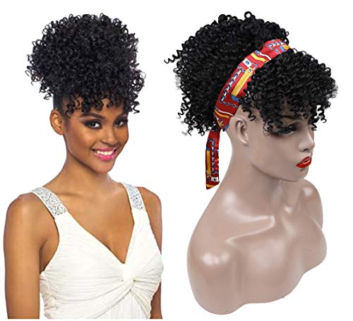 Synthetic Short Afro Puff Drawstring Ponytail Bun with Bangs,Black Afro Kinky Curly Ponytail Wrap Updo Hair Extensions with Two Clips