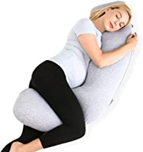 Momcozy Pregnancy Pillows for Body Support, J Shaped Maternity Pillow with Removable Jersey Cover, Soft Pregnancy Body Pillow for Side Sleeping Head Neck Belly Support, Grey